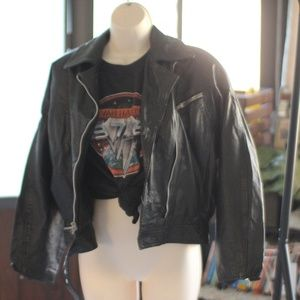 Vintage Biker Motor Leather Moto Jacket Bruiser